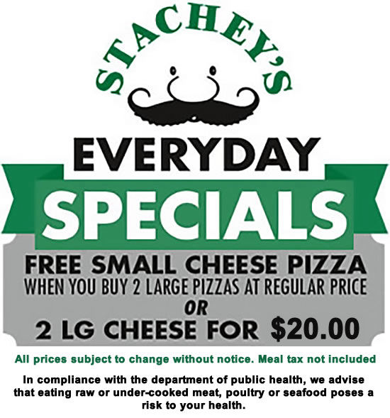 Stachey's Olde-Time Pizzeria - Everyday pizza specials